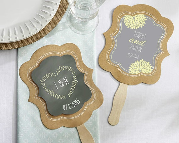 SET Rustic Wedding Hand Fan Favor Personalized Hand By EventDazzle