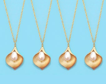 Set of 5-10, White, Pearl, Cara, Lily, Flower, Gold, Necklace, Sets, Wedding, Bridesmaid, Bride, Gift, Jewelry