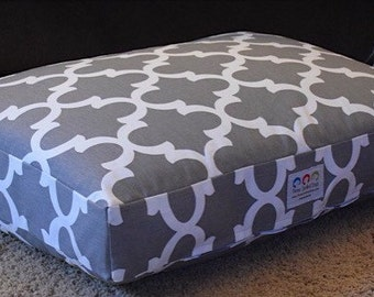 Grey Quatrefoil Dog Bed || Extra Large Pet Bed Embroider with Your Pups Name || Custom Pillow Cover Puppy Gift by Three Spoiled Dogs