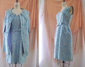 1960s Silver Blue Lame Brocade Dress Coat Set 2 piece Formal Cocktail Fancy Ice Queen -Large 30 Inch waist