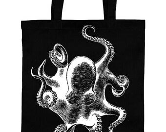 Jute cotton bag of Octopus tote bag bag of tentacles tote bag Octopus silkscreen screen printing