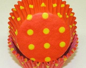 HOT DOTS Orange & Yellow Cupcake Papers
