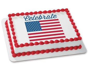 CELEBRATE AMERICA FLAG Edible Image