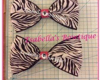 Set of two zebra print hair bows