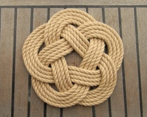 Nautical Rope Table Mat, Large, Beach Decor, Coastal Style Centrepiece, Celtic Knot, Handmade