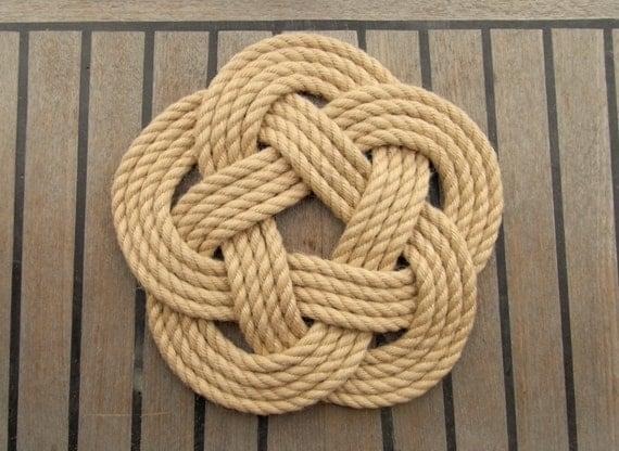 Nautical rope table mat large beach decor coastal style for Large nautical rope