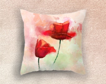 DECORATIVE PILLOW cover, red poppy pillow case, spring cushion cover, home decor, eastern throw pillow cover decoration, red flower pillow