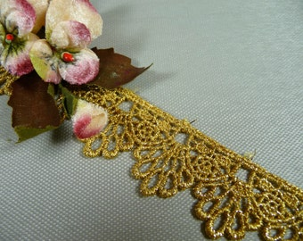 Metallic Gold Venise Lace Trim for Gowns, Costumes, Home Decor, Crafts, Cakes, DIY VL05G