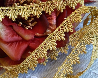 Metallic Gold Venise Lace Trim Narrow Width for Gowns, Costumes, Home Decor, Crafts, Wedding Cakes, DIY VL03G