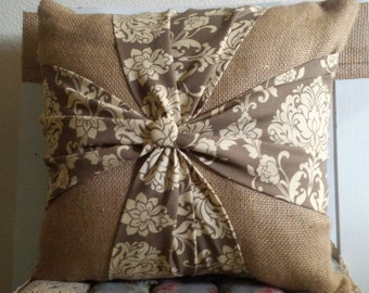 Burlap Bow Pillow 16x16