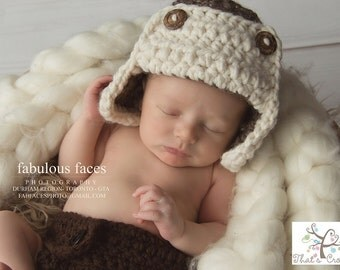 Newborn chunky aviator hat, Newborn photography prop, newborn boy, crochet hat, crochet diaper cover