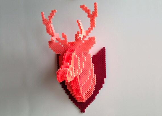 Deer Head 3d Perler Bead Puzzle Wall Decor By Mizgvusdesigns