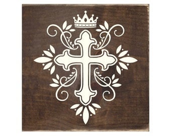 Christian Rustic Wood Sign / Cross Wooden Plaque (#1712)
