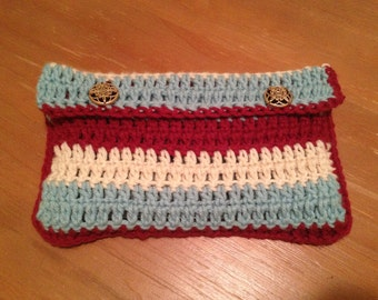 Crocheted Kindle Fire Sleeve, 100% Handmade Crochet, Tri-Colored, For Kindle Fire, Color Combo: Anthro Cool