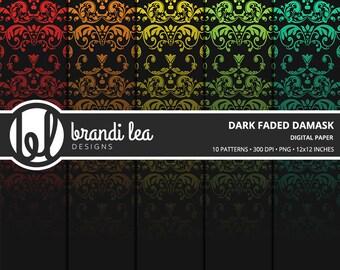 Dark Faded Damask Digital Paper - Digital Download - 300 DPI - 12x12 Inches - PNG