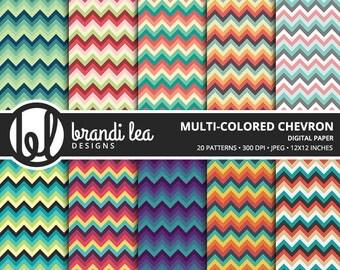 Multi-colored Chevron Digital Paper - Digital Download - 300 DPI - 12x12 Inches - JPG