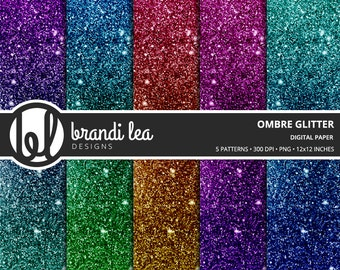 Ombre Glitter Digital Paper - Digital Download - 300 DPI - 12x12 Inches - PNG