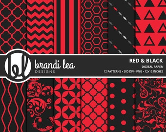 Red & Black Digital Paper - Digital Download - 300 DPI - 12x12 Inches - PNG