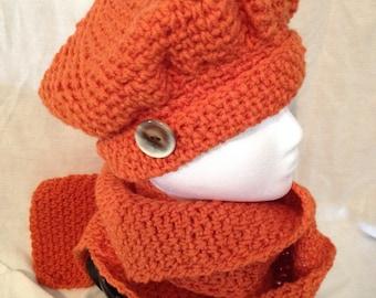 Burnt Orange Hat and Scarf