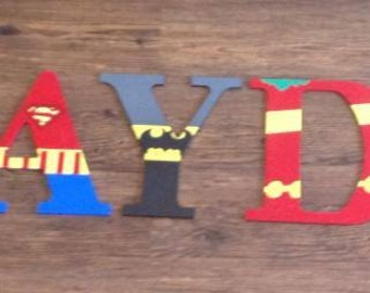 "Wooden letters for kids bedrooms ""superheroes"""