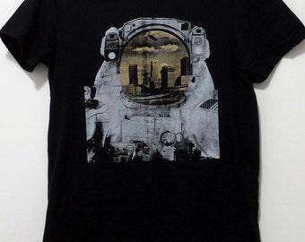 Akron Astronaut Shirt - The Akron Skyline Reflected on visor - Akron, OH Shirts