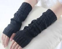 Womens Black Fingerless Gloves Motorcycle Gloves Knit Pattern Mittens Fingerless Christmas Gift Knitted Hand Warmers 6008