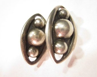 """Vintage 825 Sterling Silver Taxco Earrings Signed """"Emma"""""""
