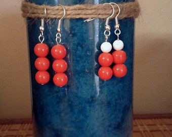 Simple Orange Earrings or Orange & White Earrings - Dangle Round Bead Earrings - silver earrings - simple basic beaded earrings