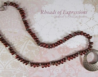 Hammered look Burgundy stone Necklace