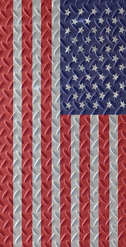 Diamond Plate American Flag Theme Cornhole By