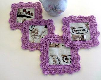 Set of 4 Coasters, Crocheted Fabric Coasters, Fabric Coasters, Glass Mats, Mug Mats, Drink Coasters, Table Decor