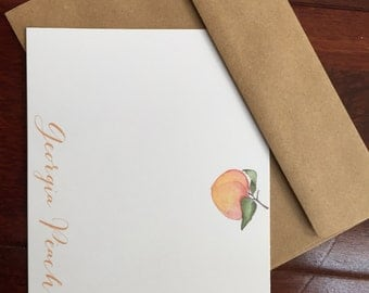 Georgia Peach Personalized Stationery (stationary) Sets - Peach Note Cards - Watercolor Peach