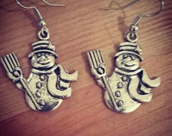 Handmade Tibetan Silver Snowman Earrings