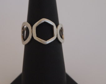 Modern Geometric Sterling Silver Ring with Matte Finish