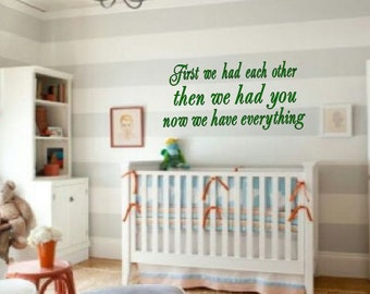 Now we have everything, Nursery wall quote