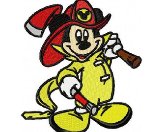 Mickey Mouse Firefighter Embroidery Design in 3 Sizes - Instant Download