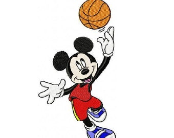 Mickey Mouse Basketball Embroidery Design in 3 Sizes - Instant Download