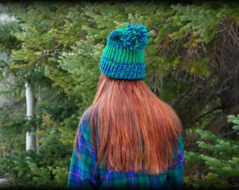 Slouched Everglades Thick Knitted Beanie