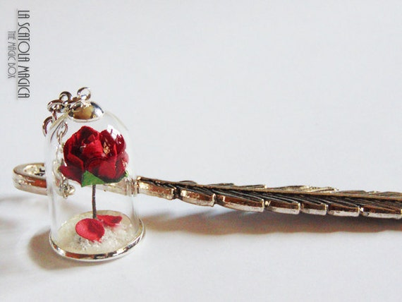 Beauty and the Beast bookmark - Rose in a glass globe - Rose in terrarium - handmade