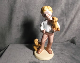 "Vintage Avon ""Best Friends"" Porcelain Figurine 1981 Boy with Puppies"