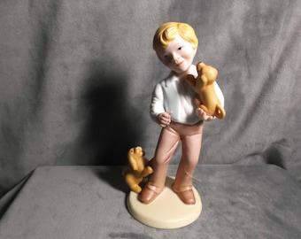 """Vintage Avon """"Best Friends"""" Porcelain Figurine 1981 Boy with Puppies"""