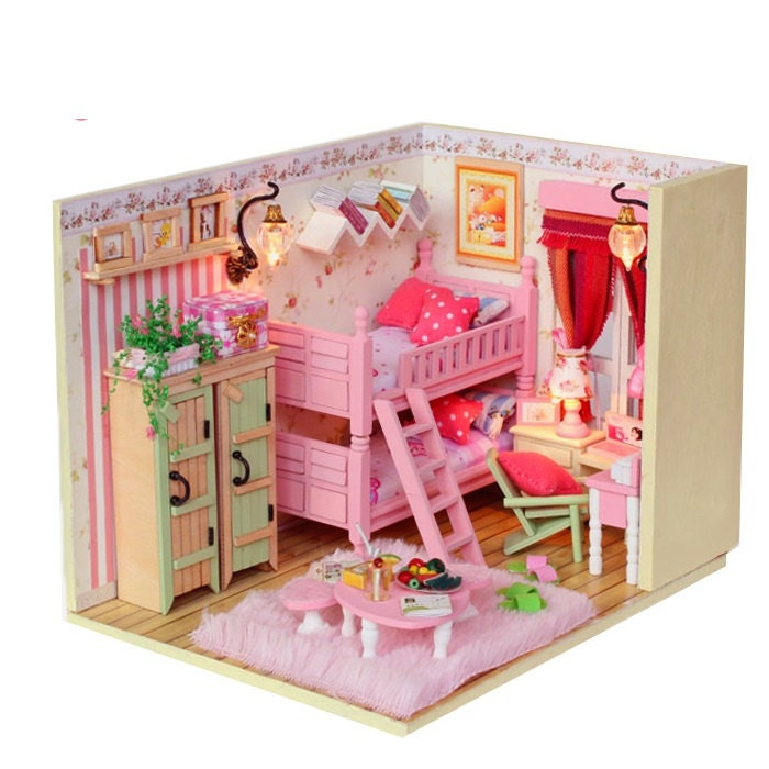 Diy Miniature Girl Bed Room Miniature Handcraft Kit Birthday