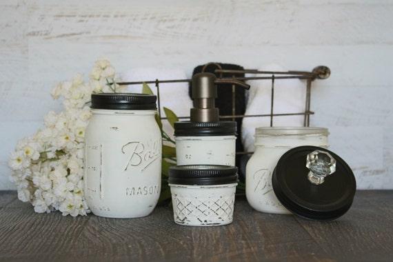 classic black and white mason jar bathroom set bronze pump
