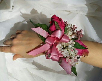 hot pink corsage.