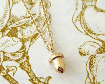 Tiny Gold Acorn Necklace