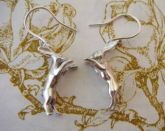 Silver Hare Earrings, boxing hares, rabbit jewellery, hare earrings, nature earrings, gifts for her, Uk maker