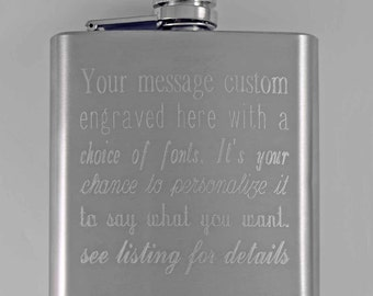 stainless steel flask, metal hip flask, personalized flask, custom engraved flask, pocket flask, men's flask, groomsman gift