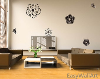 Flower Wall Decal, Flowers Wall Sticker, Flower Vinyl Wall Art Decals, Flower Wall Decor for Living room, Bedroom, Office,  Butterfly  #F38