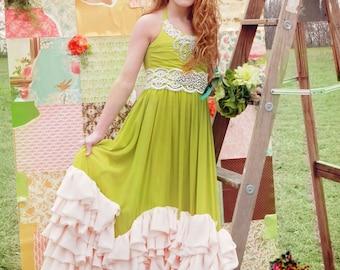 Flower girl dress, custom dress, Ruffled Chiffon Halter Dress-Paige Dress, custom colors available.