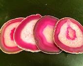 Agate Coaster - Pink Agate Coasters - Brazilian agate - Natural Edge Agate Coasters - Crystal Geode Slice - Wedding Birthday Hostest Gift